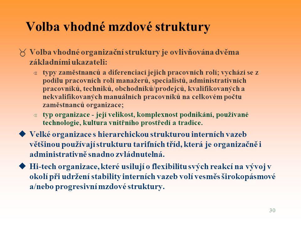 30 Volba vhodné mzdové struktury _Volba vhodné organizační struktury je ovlivňována dvěma základními ukazateli: Õ typy zaměstnanců a diferenciací jeji