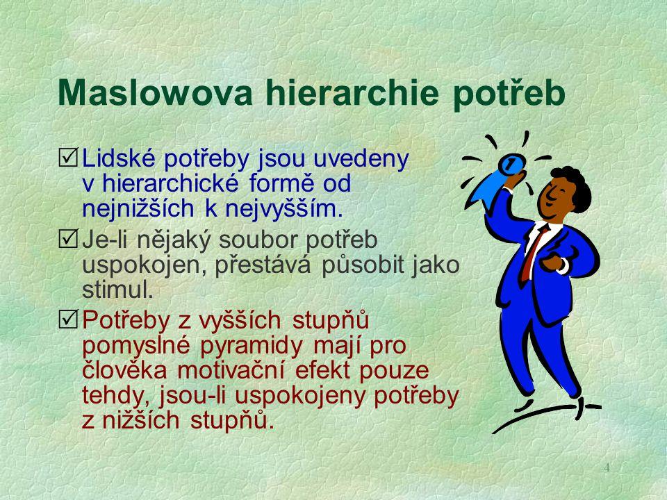 Maslowova hierarchie potřeb v podmínkách organizace 1.