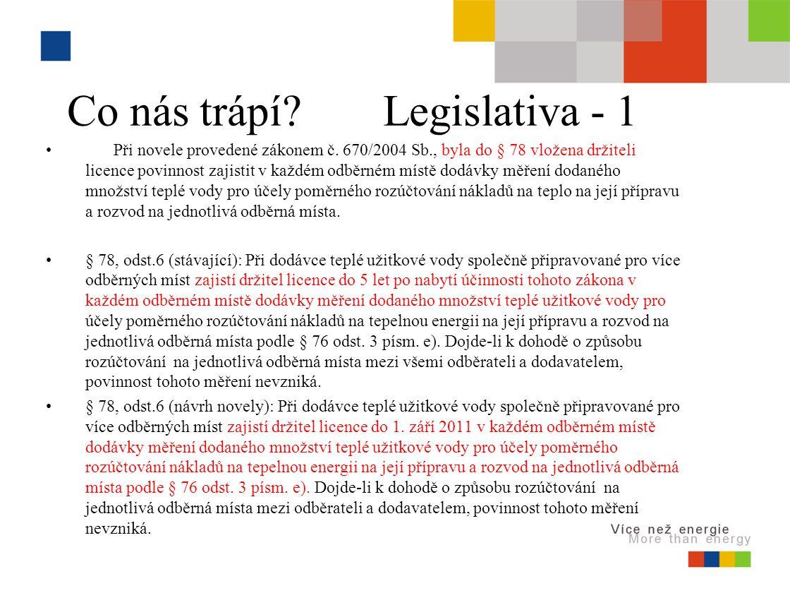 Co nás trápí. Legislativa - 1 Při novele provedené zákonem č.