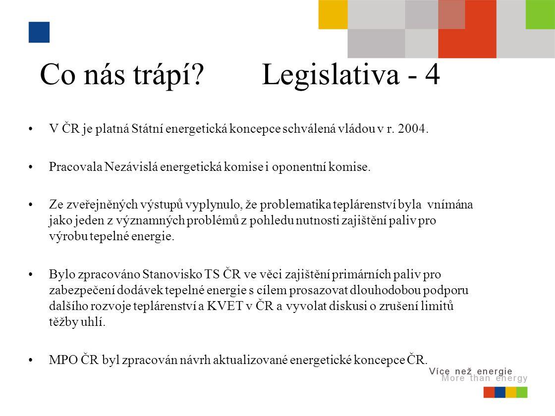 Co nás trápí. Legislativa - 4 V ČR je platná Státní energetická koncepce schválená vládou v r.