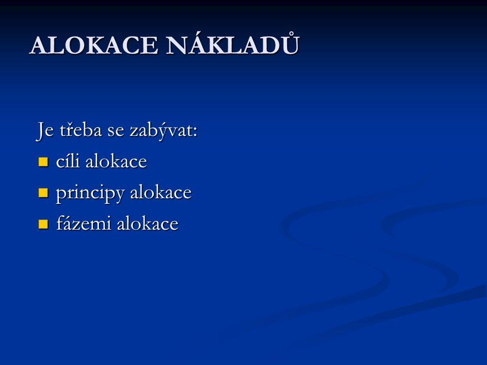 ALOKACE NÁKLADŮ Je třeba se zabývat: cíli alokace cíli alokace principy alokace principy alokace fázemi alokace fázemi alokace