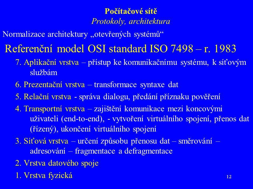 """12 Počítačové sítě Protokoly, architektura Normalizace architektury """"otevřených systémů Referenční model OSI standard ISO 7498 – r."""