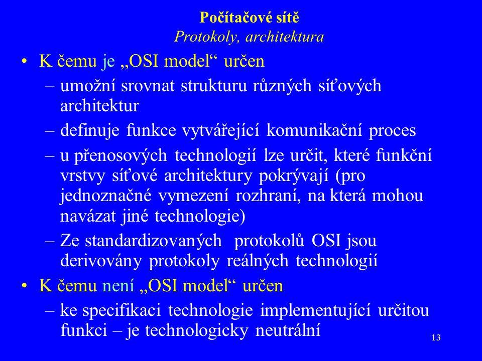 """13 Počítačové sítě Protokoly, architektura K čemu je """"OSI model určen –umožní srovnat strukturu různých síťových architektur –definuje funkce vytvářející komunikační proces –u přenosových technologií lze určit, které funkční vrstvy síťové architektury pokrývají (pro jednoznačné vymezení rozhraní, na která mohou navázat jiné technologie) –Ze standardizovaných protokolů OSI jsou derivovány protokoly reálných technologií K čemu není """"OSI model určen –ke specifikaci technologie implementující určitou funkci – je technologicky neutrální"""