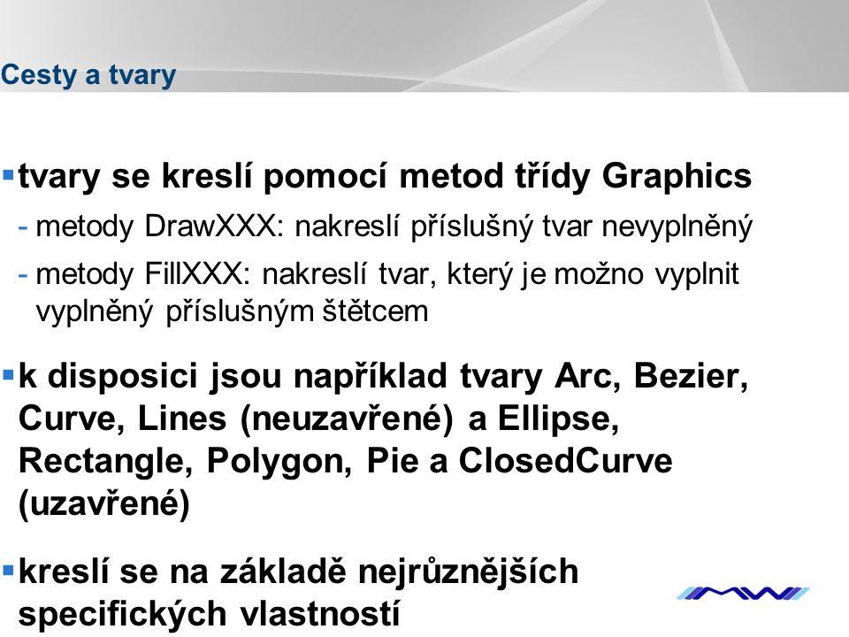 YOUR LOGO Cesty a tvary  tvary se kreslí pomocí metod třídy Graphics -metody DrawXXX: nakreslí příslušný tvar nevyplněný -metody FillXXX: nakreslí tvar, který je možno vyplnit vyplněný příslušným štětcem  k disposici jsou například tvary Arc, Bezier, Curve, Lines (neuzavřené) a Ellipse, Rectangle, Polygon, Pie a ClosedCurve (uzavřené)  kreslí se na základě nejrůznějších specifických vlastností