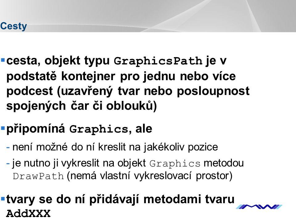 YOUR LOGO Cesty  cesta, objekt typu GraphicsPath je v podstatě kontejner pro jednu nebo více podcest (uzavřený tvar nebo posloupnost spojených čar či oblouků)  připomíná Graphics, ale -není možné do ní kreslit na jakékoliv pozice -je nutno ji vykreslit na objekt Graphics metodou DrawPath (nemá vlastní vykreslovací prostor)  tvary se do ní přidávají metodami tvaru AddXXX  metody StartFigure a CloseFigure