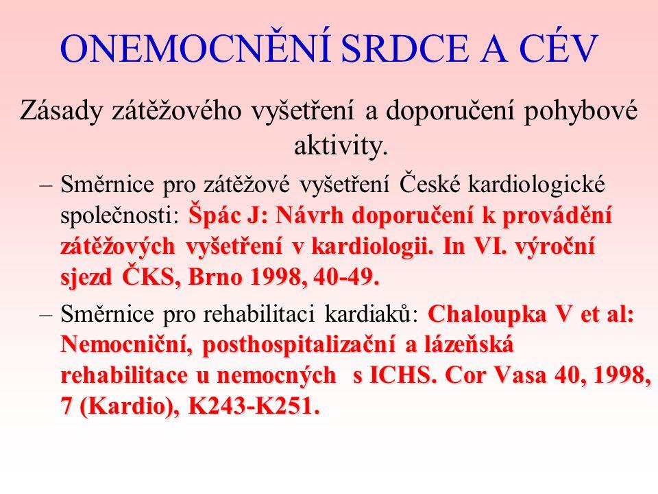 ROZDĚLENÍ SRDCE ICHS Chronické srdeční selhání Kardiomyopatie Akutní zánětlivá onemocnění (myokard, endokard, perikard) Srdeční vady Funkční poruchy oběhového systému Arterální hypertenze CÉVY ateroskleróza chronická ischemická choroba DK varikózní komplexy DK