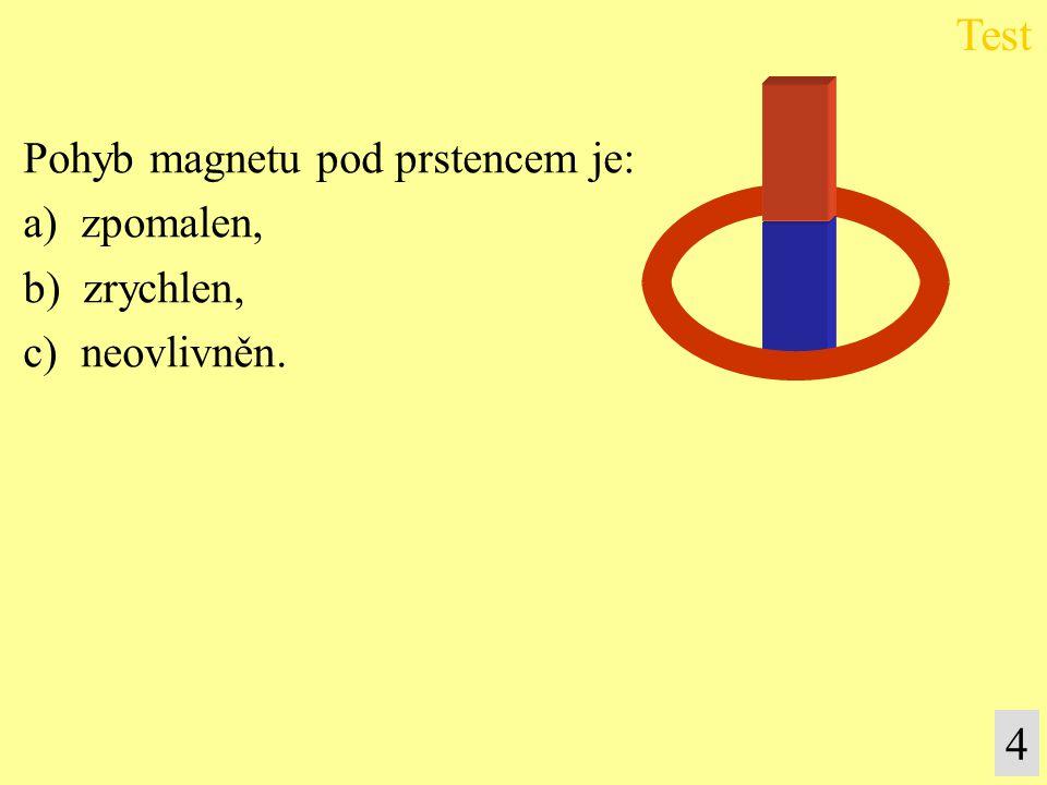 Pohyb magnetu pod prstencem je: a) zpomalen, b) zrychlen, c) neovlivněn. Test 4
