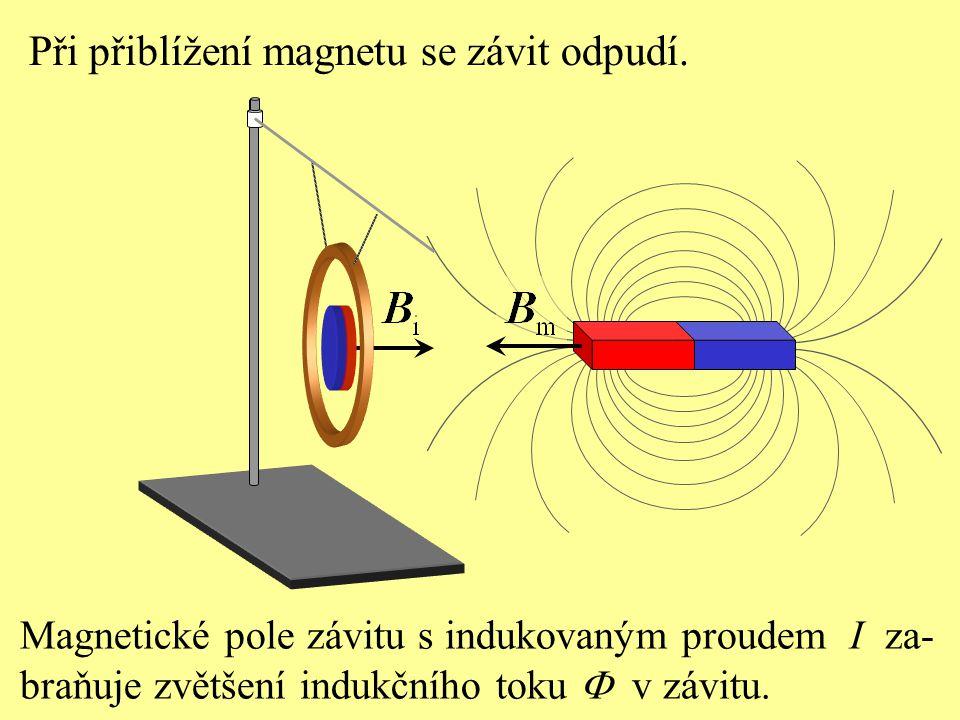 Při přiblížení magnetu se závit odpudí. Magnetické pole závitu s indukovaným proudem I za- braňuje zvětšení indukčního toku  v závitu.