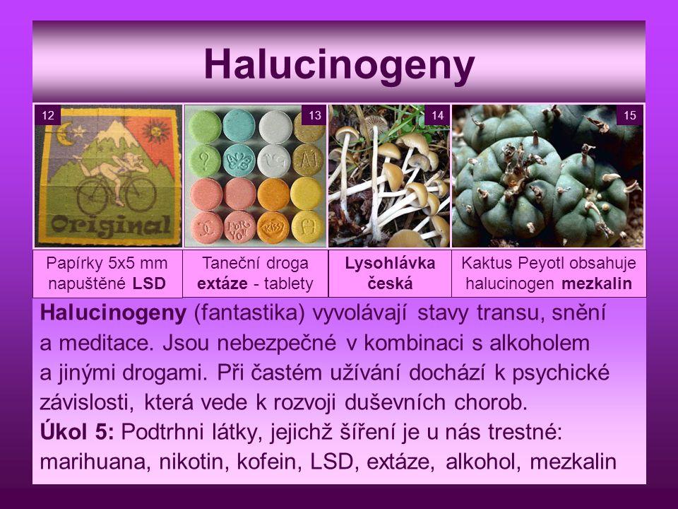 Halucinogeny Halucinogeny (fantastika) vyvolávají stavy transu, snění a meditace. Jsou nebezpečné v kombinaci s alkoholem a jinými drogami. Při častém