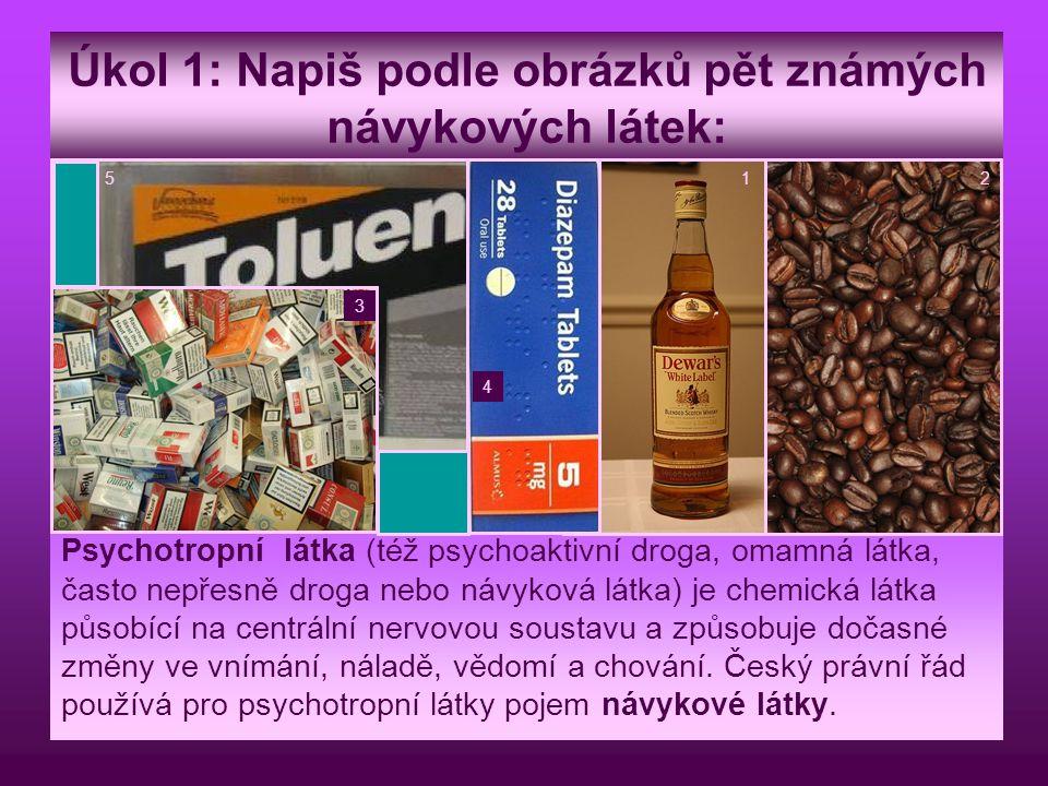 Úkol 1: Napiš podle obrázků pět známých návykových látek: Psychotropní látka (též psychoaktivní droga, omamná látka, často nepřesně droga nebo návykov