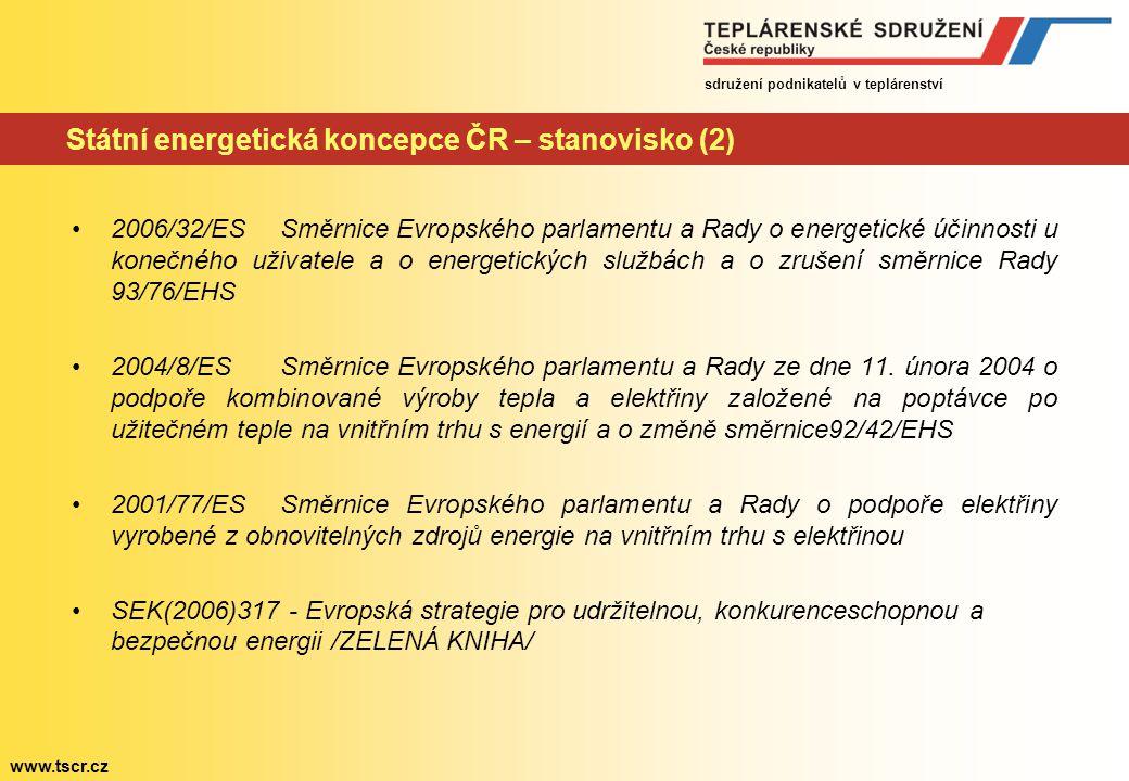 sdružení podnikatelů v teplárenství www.tscr.cz Státní energetická koncepce ČR – stanovisko (2) 2006/32/ES Směrnice Evropského parlamentu a Rady o energetické účinnosti u konečného uživatele a o energetických službách a o zrušení směrnice Rady 93/76/EHS 2004/8/ES Směrnice Evropského parlamentu a Rady ze dne 11.