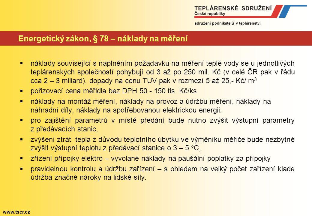 sdružení podnikatelů v teplárenství www.tscr.cz Energetický zákon, § 78 – náklady na měření  náklady související s naplněním požadavku na měření teplé vody se u jednotlivých teplárenských společností pohybují od 3 až po 250 mil.