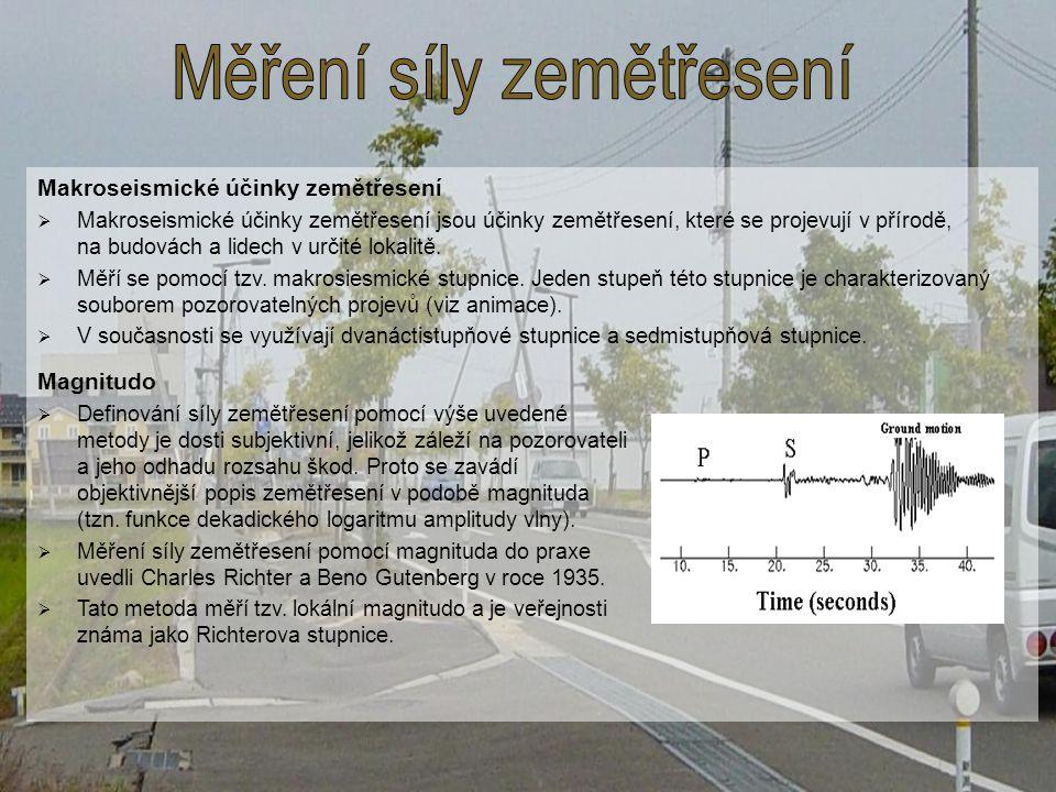 Makroseismické účinky zemětřesení  Makroseismické účinky zemětřesení jsou účinky zemětřesení, které se projevují v přírodě, na budovách a lidech v ur