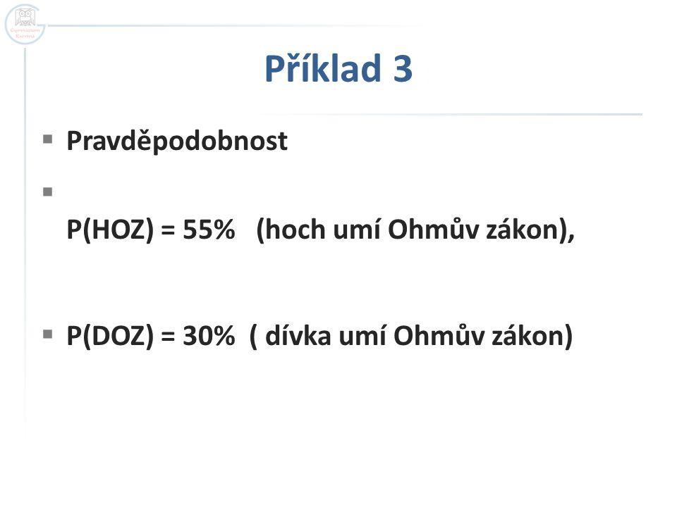  Pravděpodobnost  P(HOZ) = 55% (hoch umí Ohmův zákon),  P(DOZ) = 30% ( dívka umí Ohmův zákon)