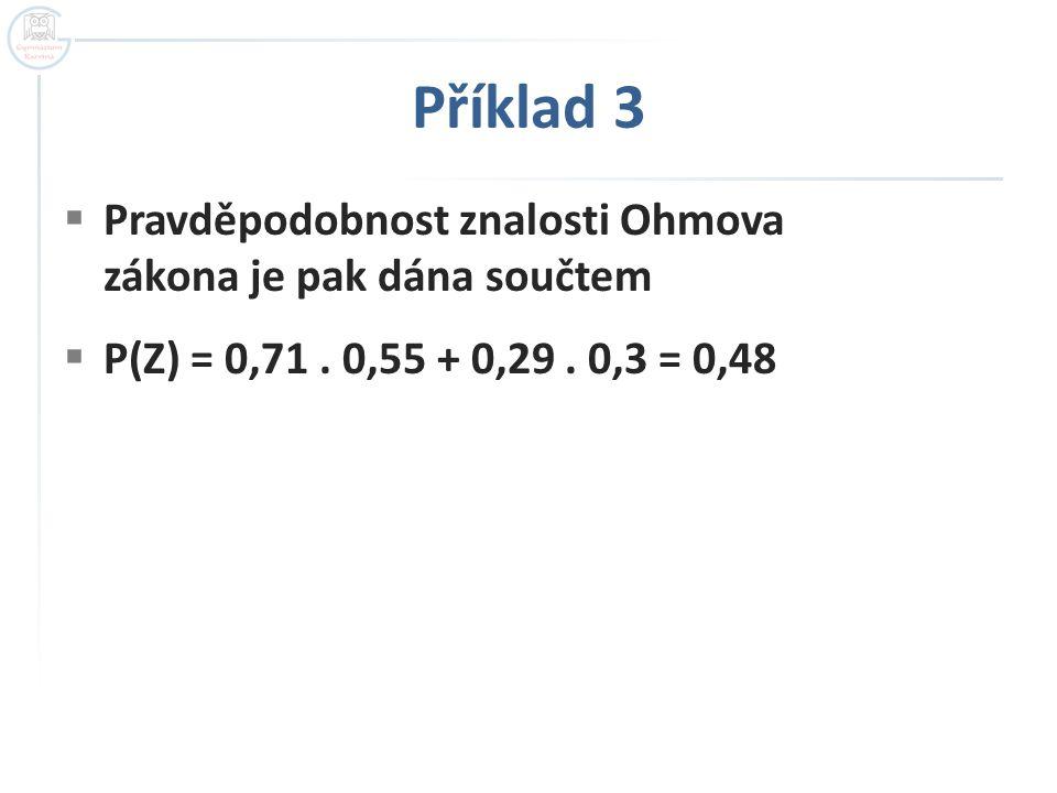 Příklad 3  Pravděpodobnost znalosti Ohmova zákona je pak dána součtem  P(Z) = 0,71. 0,55 + 0,29. 0,3 = 0,48