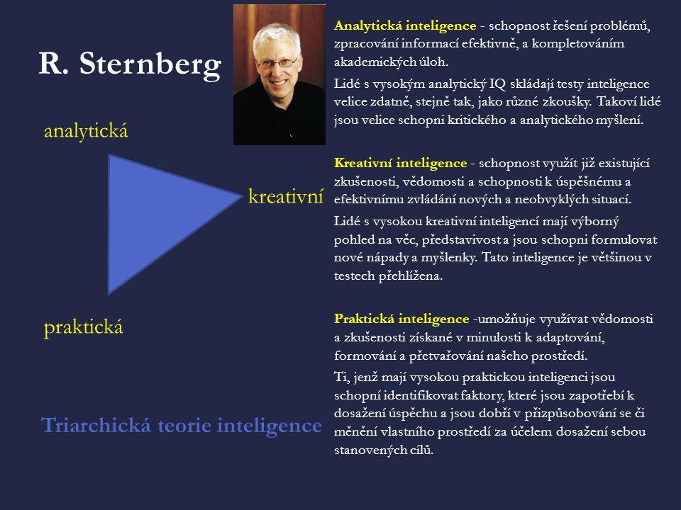 R. Sternberg Triarchická teorie inteligence Analytická inteligence - schopnost řešení problémů, zpracování informací efektivně, a kompletováním akadem