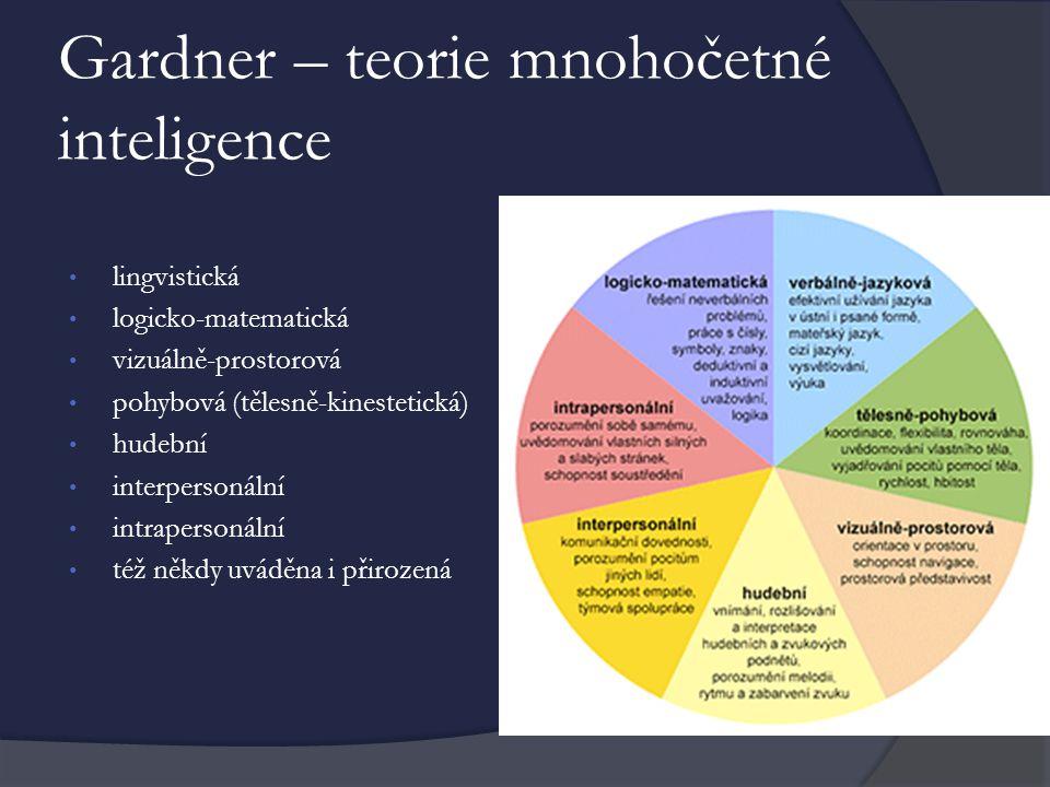 Gardner – teorie mnohočetné inteligence lingvistická logicko-matematická vizuálně-prostorová pohybová (tělesně-kinestetická) hudební interpersonální intrapersonální též někdy uváděna i přirozená
