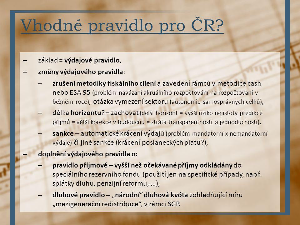 Vhodné pravidlo pro ČR? – základ = výdajové pravidlo, – změny výdajového pravidla: – zrušení metodiky fiskálního cílení a zavedení rámců v metodice ca