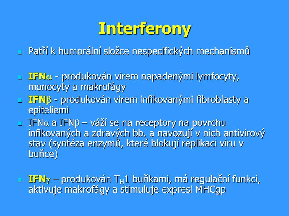 Interferony Patří k humorální složce nespecifických mechanismů Patří k humorální složce nespecifických mechanismů IFN  - produkován virem napadenými