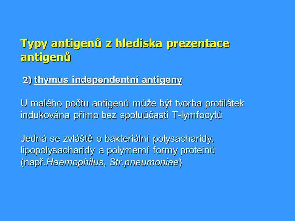 Superantigeny = proteiny (mikrobiální produkty), které mají 2 vazebná místa; jedním interagují s epitopem přítomným na všech MHCgpII, druhým interagují se strukturami přítomnými na mnoha různých molekulách TCR ( propojení T lymfocytu s APC) * stimulují polyklonálně a masivně * masivní aktivací T lymfocytů mohou způsobit šokové stavy * např.bakteriální toxiny (Staph.aureus, Str.pyogenes, Pseud.aeruginosa)