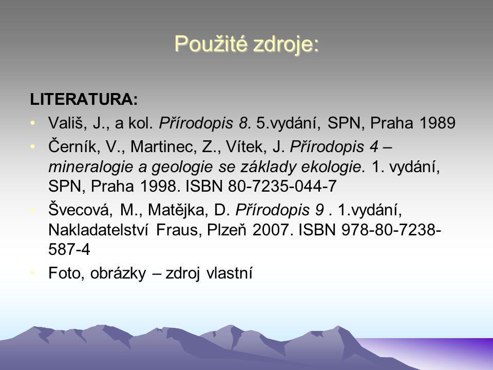 Použité zdroje: LITERATURA: Vališ, J., a kol. Přírodopis 8. 5.vydání, SPN, Praha 1989 Černík, V., Martinec, Z., Vítek, J. Přírodopis 4 – mineralogie a