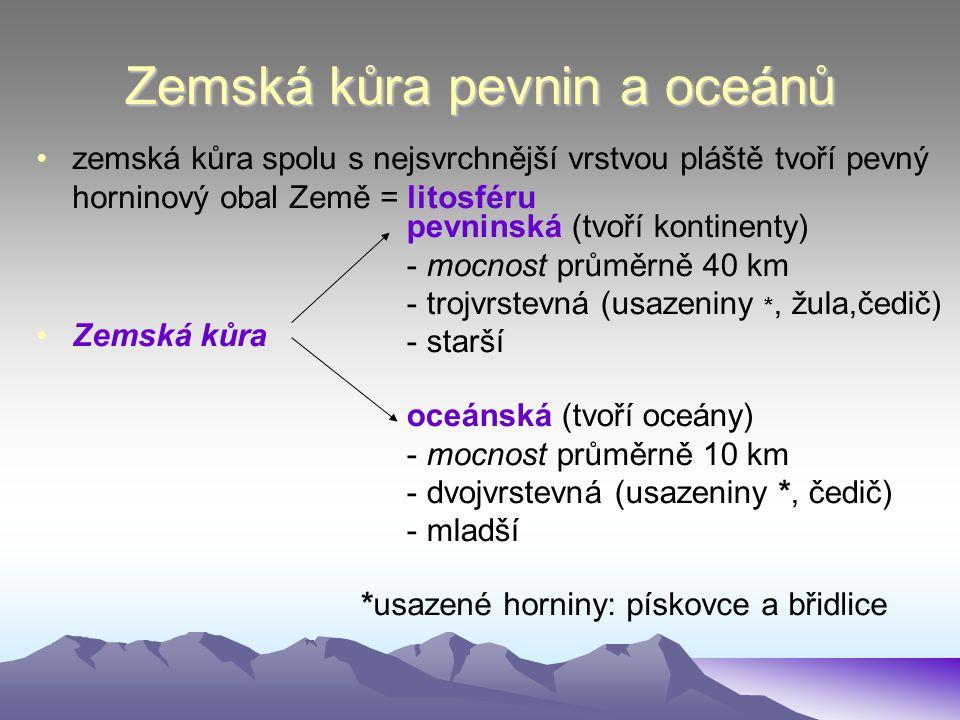 Zemská kůra pevnin a oceánů zemská kůra spolu s nejsvrchnější vrstvou pláště tvoří pevný horninový obal Země = litosféru Zemská kůra pevninská (tvoří