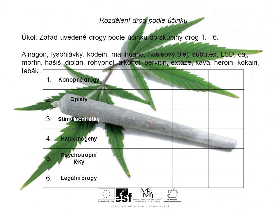 Rozdělení drog podle účinku Úkol: Zařaď uvedené drogy podle účinku do skupiny drog 1. - 6. Alnagon, lysohlávky, kodein, marihuana, hašišový olej, subu
