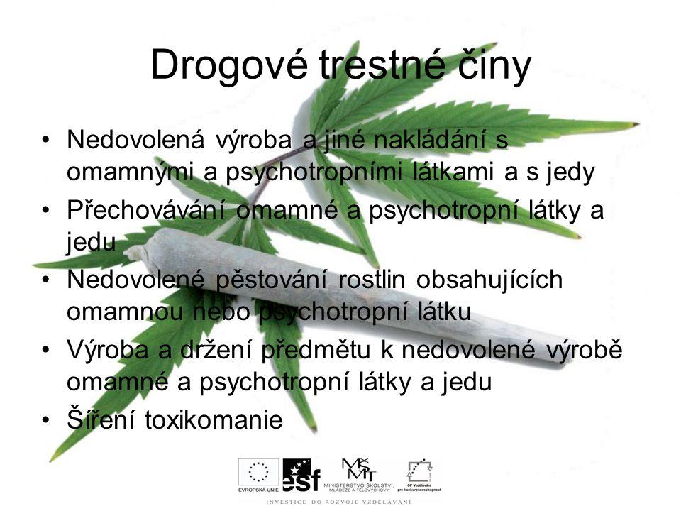 Drogové trestné činy Nedovolená výroba a jiné nakládání s omamnými a psychotropními látkami a s jedy Přechovávání omamné a psychotropní látky a jedu N