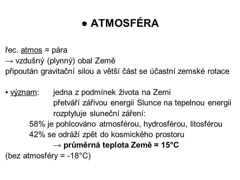 ● ATMOSFÉRA řec. atmos = pára → vzdušný (plynný) obal Země připoután gravitační silou a větší část se účastní zemské rotace ▪ význam:jedna z podmínek