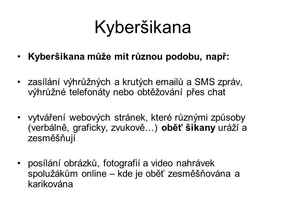 Kyberšikana Kyberšikana může mít různou podobu, např: zasílání výhrůžných a krutých emailů a SMS zpráv, výhrůžné telefonáty nebo obtěžování přes chat