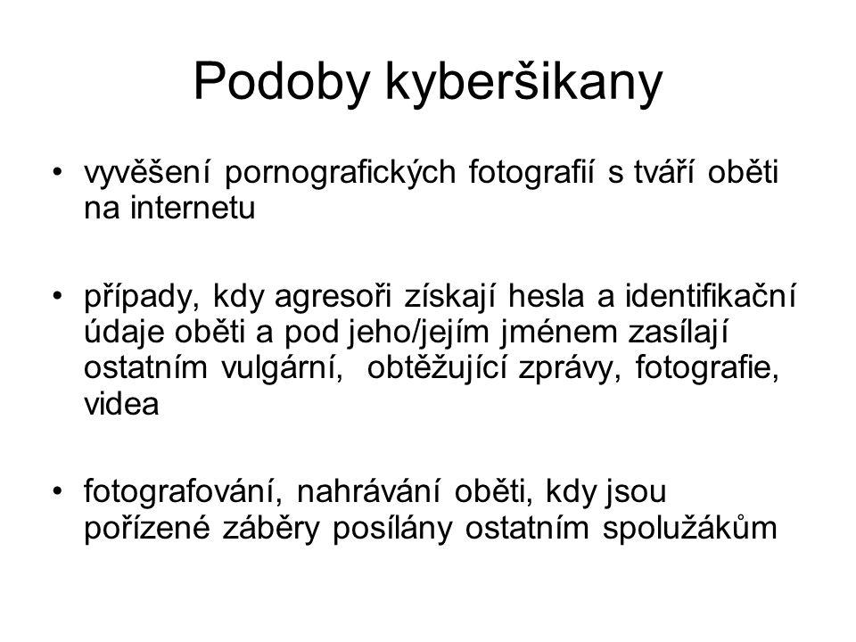 Podoby kyberšikany vyvěšení pornografických fotografií s tváří oběti na internetu případy, kdy agresoři získají hesla a identifikační údaje oběti a po