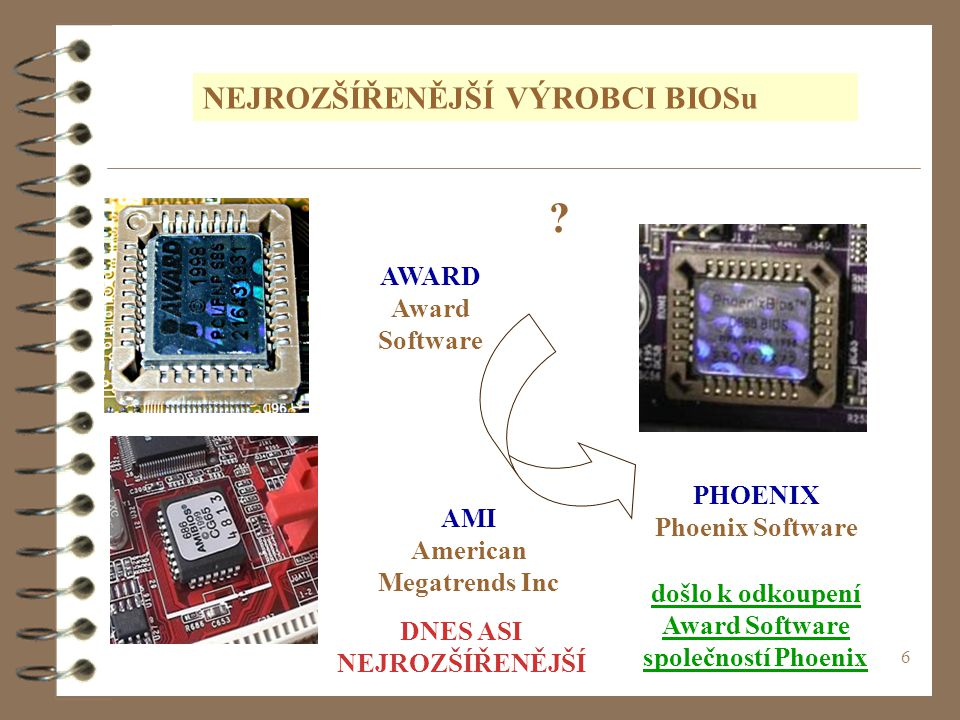 6 NEJROZŠÍŘENĚJŠÍ VÝROBCI BIOSu AWARD Award Software AMI American Megatrends Inc PHOENIX Phoenix Software došlo k odkoupení Award Software společností Phoenix .