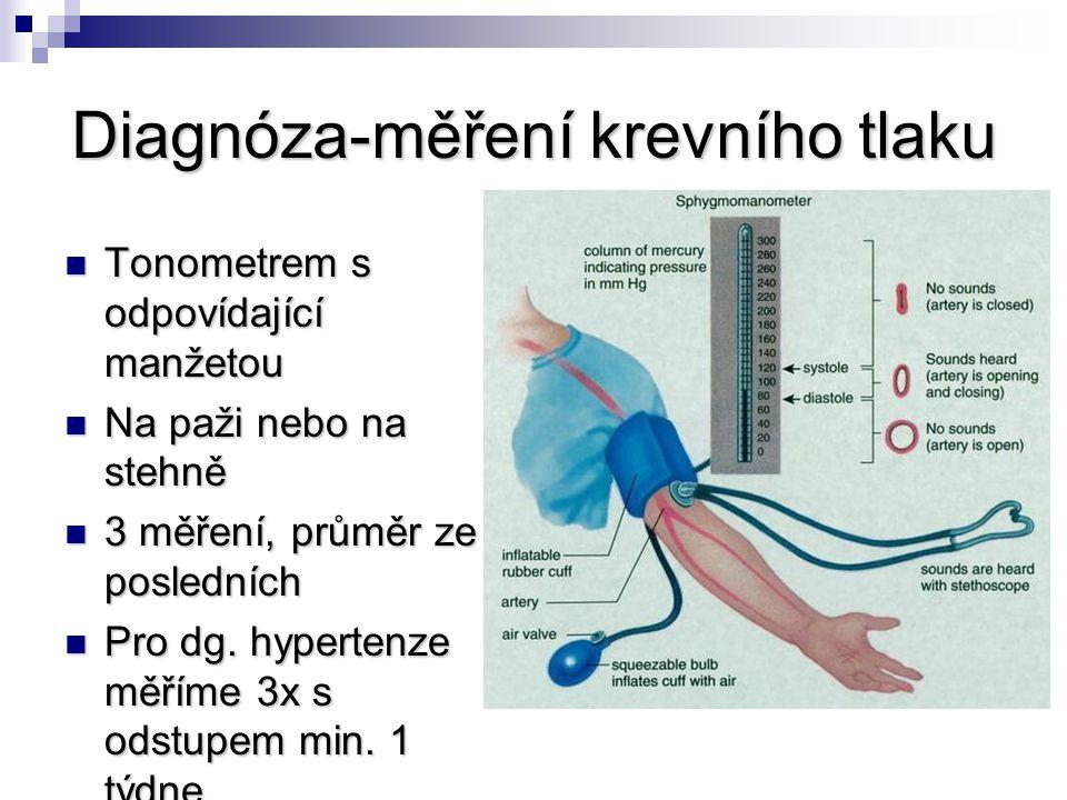 Diagnóza-měření krevního tlaku Tonometrem s odpovídající manžetou Tonometrem s odpovídající manžetou Na paži nebo na stehně Na paži nebo na stehně 3 m