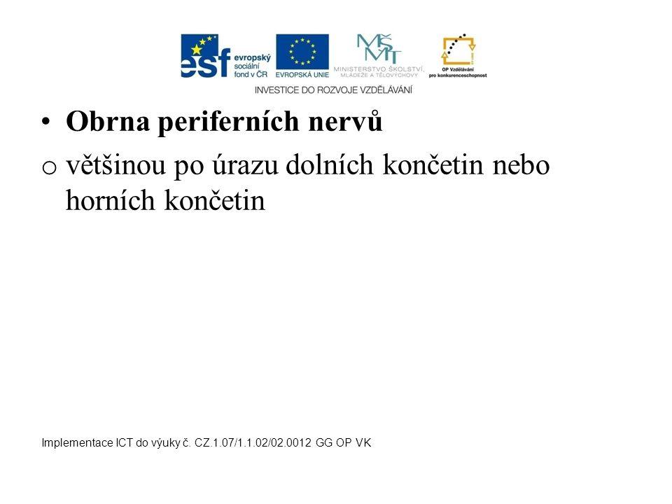 Obrna periferních nervů o většinou po úrazu dolních končetin nebo horních končetin Implementace ICT do výuky č. CZ.1.07/1.1.02/02.0012 GG OP VK