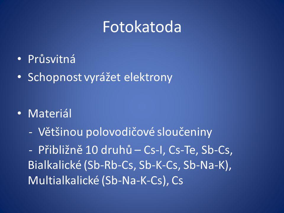 Fotokatoda Průsvitná Schopnost vyrážet elektrony Materiál - Většinou polovodičové sloučeniny - Přibližně 10 druhů – Cs-I, Cs-Te, Sb-Cs, Bialkalické (S