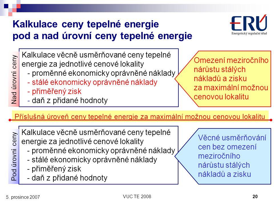 VUC TE 200820 5. prosince 2007 Kalkulace věcně usměrňované ceny tepelné energie za jednotlivé cenové lokality - proměnné ekonomicky oprávněné náklady