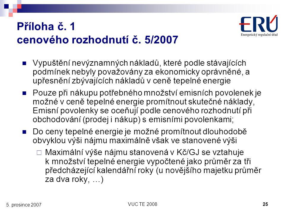 VUC TE 200825 5. prosince 2007 Příloha č. 1 cenového rozhodnutí č. 5/2007 Vypuštění nevýznamných nákladů, které podle stávajících podmínek nebyly pova