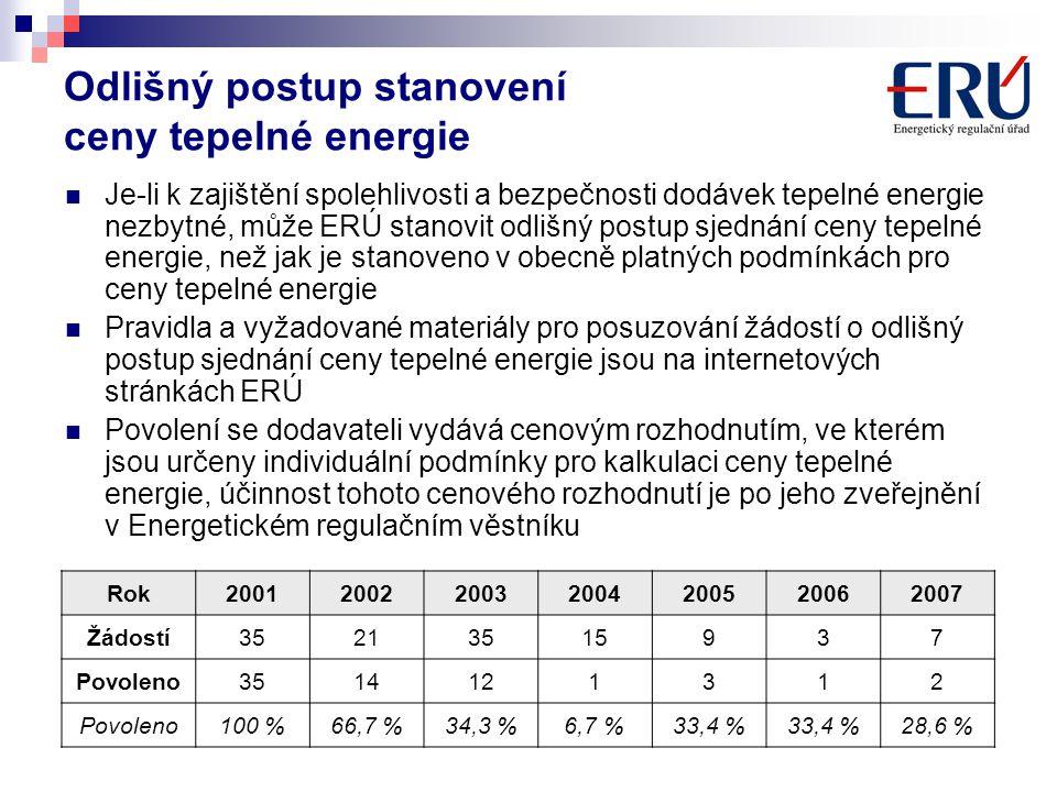 Odlišný postup stanovení ceny tepelné energie Je-li k zajištění spolehlivosti a bezpečnosti dodávek tepelné energie nezbytné, může ERÚ stanovit odlišn