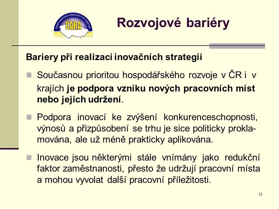 12 Rozvojové bariéry Bariery při realizaci inovačních strategií Současnou prioritou hospodářského rozvoje v ČR i v krajích je podpora vzniku nových pracovních míst nebo jejich udržení.
