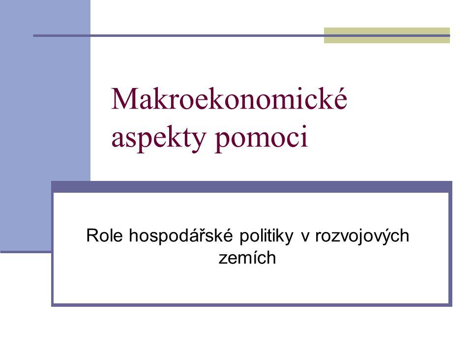Makroekonomické aspekty pomoci Role hospodářské politiky v rozvojových zemích