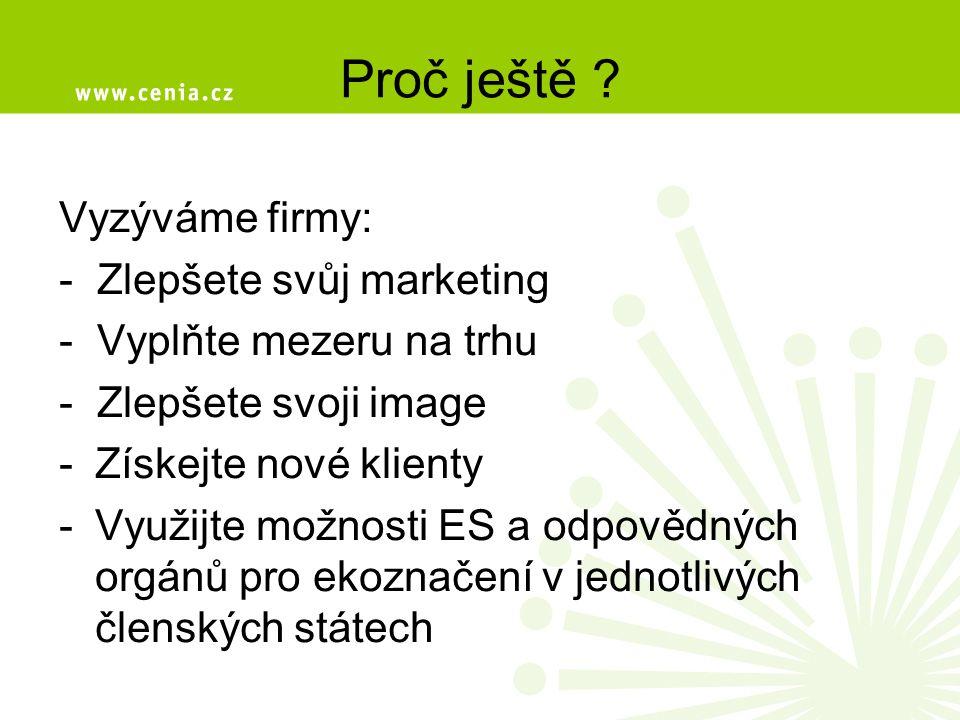Proč ještě ? Vyzýváme firmy: - Zlepšete svůj marketing - Vyplňte mezeru na trhu - Zlepšete svoji image -Získejte nové klienty -Využijte možnosti ES a