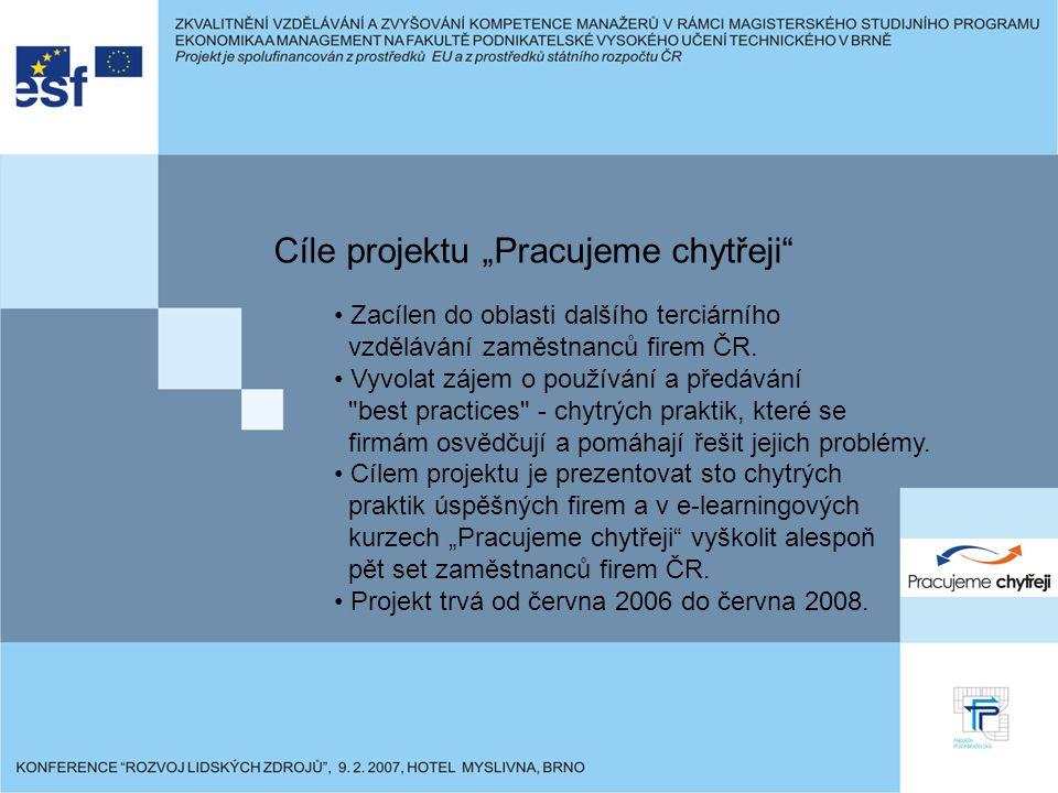 """Cíle projektu """"Pracujeme chytřeji Zacílen do oblasti dalšího terciárního vzdělávání zaměstnanců firem ČR."""