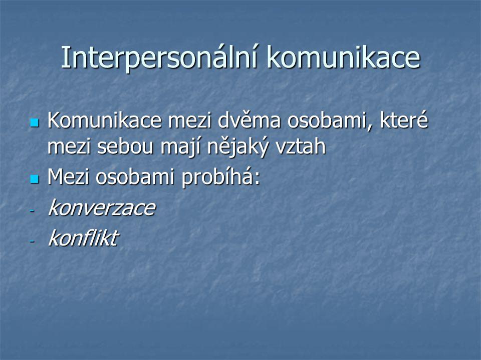 Interpersonální komunikace Komunikace mezi dvěma osobami, které mezi sebou mají nějaký vztah Komunikace mezi dvěma osobami, které mezi sebou mají nějaký vztah Mezi osobami probíhá: Mezi osobami probíhá: - konverzace - konflikt