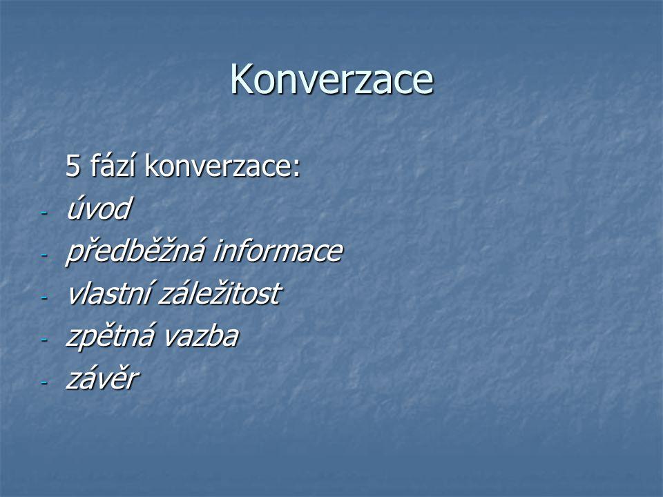 Konverzace 5 fází konverzace: - úvod - předběžná informace - vlastní záležitost - zpětná vazba - závěr