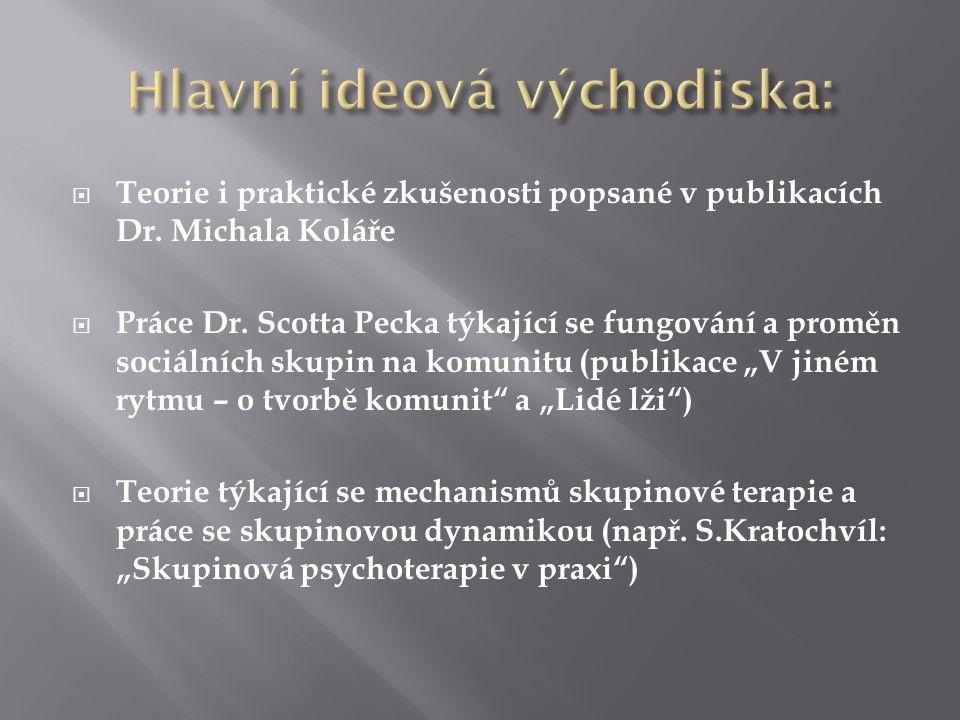  Teorie i praktické zkušenosti popsané v publikacích Dr. Michala Koláře  Práce Dr. Scotta Pecka týkající se fungování a proměn sociálních skupin na