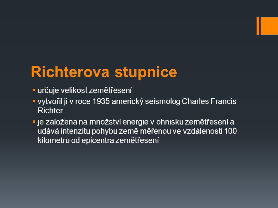 Richterova stupnice  určuje velikost zemětřesení  vytvořil ji v roce 1935 americký seismolog Charles Francis Richter  je založena na množství energ
