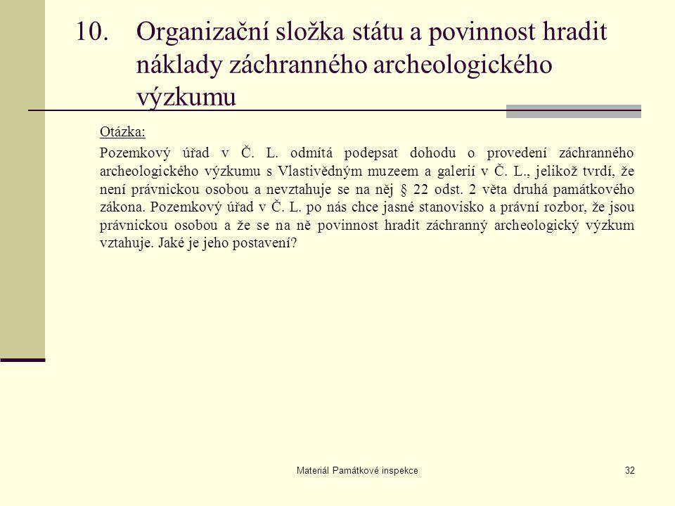 Materiál Památkové inspekce32 Otázka: Pozemkový úřad v Č. L. odmítá podepsat dohodu o provedení záchranného archeologického výzkumu s Vlastivědným muz