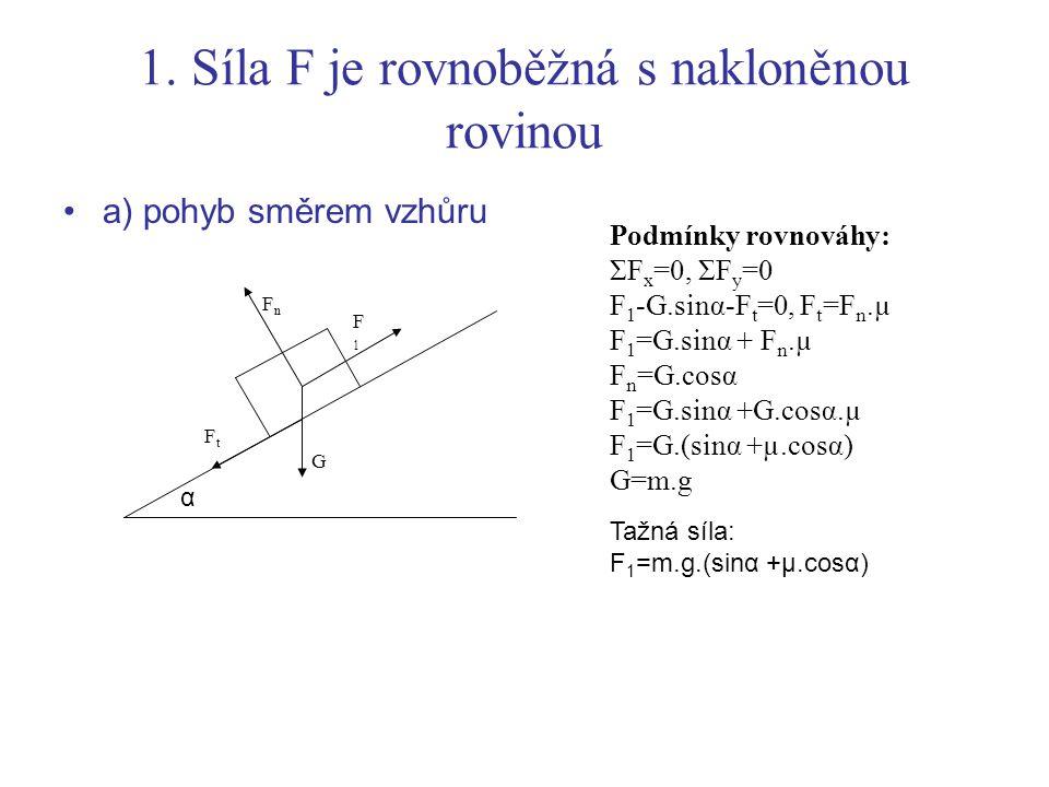 b) pohyb směrem dolů Podmínky rovnováhy: ΣF x =0, ΣF y =0 F 2 -G.sinα + F T =0, F T =Fn.µ F 2 =G.sinα - F n.µ F n =G.cosα F 2 =G.sinα - G.cosα.µ F 2 =G.(sinα - µ.cosα) α FnFn F2F2 G FtFt
