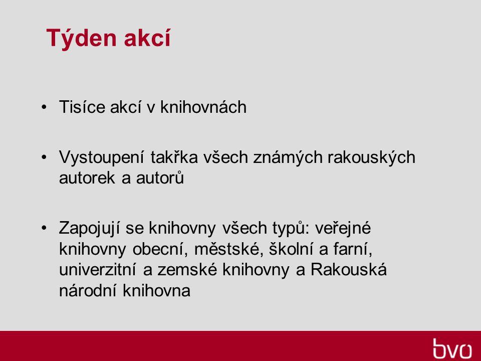 Týden akcí Tisíce akcí v knihovnách Vystoupení takřka všech známých rakouských autorek a autorů Zapojují se knihovny všech typů: veřejné knihovny obecní, městské, školní a farní, univerzitní a zemské knihovny a Rakouská národní knihovna