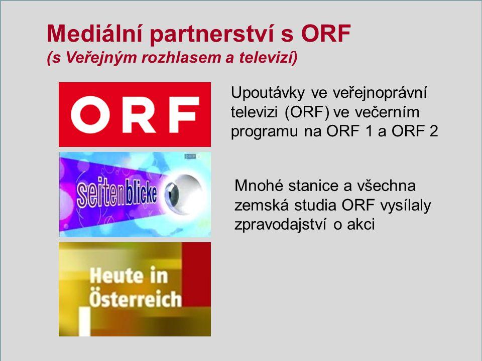 Mediální partnerství s ORF (s Veřejným rozhlasem a televizí) Upoutávky ve veřejnoprávní televizi (ORF) ve večerním programu na ORF 1 a ORF 2 Mnohé stanice a všechna zemská studia ORF vysílaly zpravodajství o akci